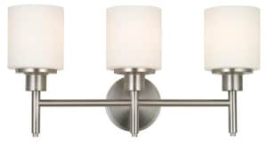 Design House Aubrey 3-Light Bathroom Vanity Fixture in Satin Nickel D556209