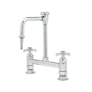 T&S Brass Deckmount Lab Mixing Faucet with Rigid Vacuum Breaker Nozzle in Polished Chrome TBL571508