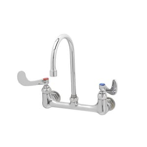 T&S Brass Two Wristblade Handle Wall Mount Service Faucet in Polished Chrome TB033004