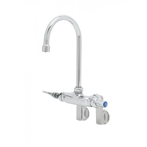 T&S Brass Wall Mount Double Pantry Faucet with Rigid Gooseneck in Polished Chrome TB0340