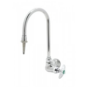 T&S Brass Single Cross Handle Wall Mount Lab Faucet in Polished Chrome TBL571001