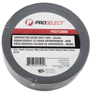 PROSELECT® 2 in. x 60 yd. Polyethylene and Polyester Duct Tape Premium Grade in Black PSDTC260B