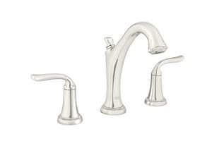 American Standard Patience™ 1.2 gpm 3-Hole Deck Mount Widespread Bathroom Faucet with Double Lever Handle and SC Drain in Polished Nickel A7106801013