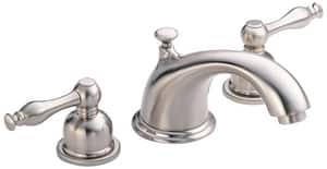 Danze Sheridan™ 1.2 gpm 3-Hole Deck Mount Widespread Lavatory Faucet with Double Lever Handle and Low Arc Spout in Brushed Nickel DD304155BN