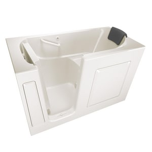 American Standard 105 Premium Series 59-1/2 x 29-3/4 in. Gelcoat Rectangle Walk-In and Built-In Bathtub with Left Drain in Linen A3060105SLL