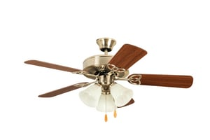 Craftmade International Builder Deluxe 42 in. 5-Blade Ceiling Fan with Light Kit in Brushed Polished Nickel CBLD42BNK5C3