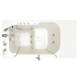 American Standard 709 Value Series 52 x 32 in. 27-Jet Gelcoat Rectangle Built-In Bathtub with Left Drain in Linen with Polished Chrome A3252OD709CLLPC