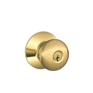 Schlage Lock Plymouth Round Keyed Entry Door Knob in Brass SCH399789