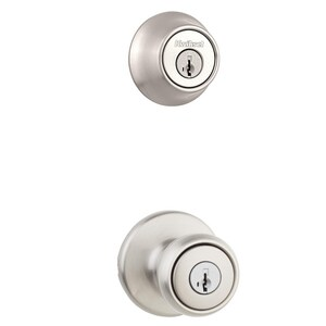 Kwikset Tylo® Metal Knob with Single Cylinder Deadbolt Combo Pack in Satin Nickel K690T15SMTBBPKG