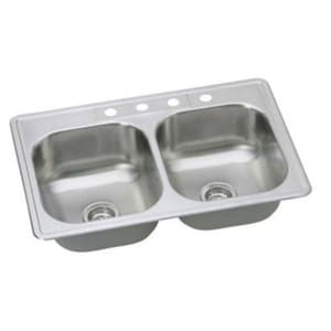PROFLO® Bealeton 33 x 22 in. 4 Hole Double Bowl Drop-in Kitchen Sink in Stainless Steel PFSR332274A