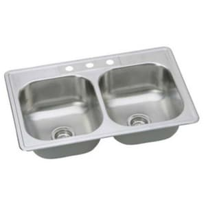 PROFLO® Bealeton 33 x 22 in. 3 Hole Double Bowl Drop-in Kitchen Sink in Stainless Steel PFSR332283A