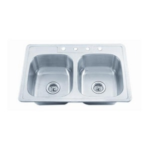 PROFLO® Bealeton 32-15/16 x 21-15/16 in. 4-Hole Double Bowl Drop-in Kitchen Sink in Stainless Steel PFSR3322654A