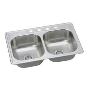 PROFLO® Bealeton 33 x 22 in. 4-Hole Double Bowl Drop-in Kitchen Sink in Stainless Steel PFSR332284A