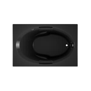 JACUZZI® Nova™ 60 x 36 in. Acrylic Rectangle Skirted Air Bathtub with Right Drain and J2 Basic Control in Black JNOV6036ARL2XXB