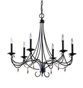 Murray Feiss Industries Aliya 27-3/4 in. 60 W 6-Light Candelabra Chandelier in Rustic Iron MF27466RI