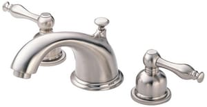 Gerber Plumbing Sheridan™ 1.2 gpm 3-Hole Deck Mount Widespread Lavatory Faucet with Double Lever Handle and Low Arc Spout in Brushed Nickel DD304155BN