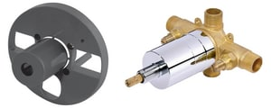 Danze 1-Hole Pressure Balancing Mixing Valve with Side Discharge Stop Brass in Clear DD112500BT