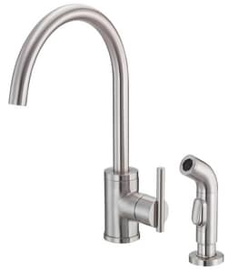 Danze Parma™ 1.75 gpm 2-Hole Deck Mount Kitchen Sink Faucet with Single Lever Handle and High Swivel Spout in Stainless Steel DD401058SS