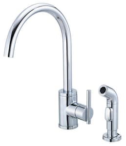 Danze Parma™ 1.75 gpm 2-Hole Deck Mount Kitchen Sink Faucet with Single Lever Handle and High Swivel Spout in Polished Chrome DD401058