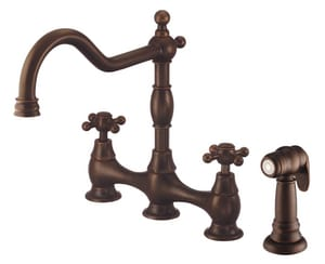 Danze Opulence™ Two Handle Bridge Kitchen Faucet in Tumbled Bronze DD404457BR