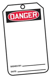 Safety TAG DNGR & BLNK CARD 25 Pack AMDT161PTP at Pollardwater