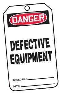 Safety TAG DNGR DEFECT EQUIP 25 Pack AMDT122PTP at Pollardwater
