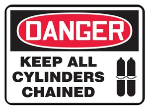 Accuform Signs 14 x 10 in. Aluminum Sign - NOTICE KEEP ALL CYLINDERS CHAINED AMCPG825VA at Pollardwater