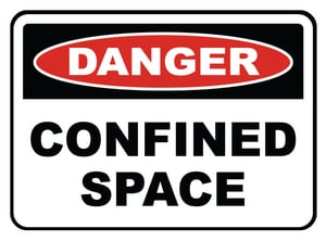 Accuform Signs 14 x 10 in. Adhesive Vinyl Sign - DANGER PERMIT REQUIRED CONFINED SPACE DO NOT ENTER AMCSP058VS