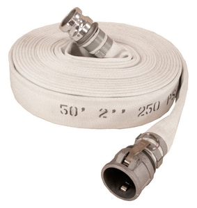 Abbott Rubber Co Inc 4 in. x 50 ft. Male Quick Connect x Female Quick Connect Single Jacket Polyester and Rubber Mill Discharge Hose in White A1130400050CE