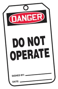 Accuform Signs 3-1/8 in. Polycarbonate Safety Tag Danger Do Not Operate 25 Pack AMDT112PTP at Pollardwater