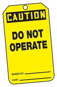 Safety TAG CAUTION DO NOT OPERATE AMDT610PTP