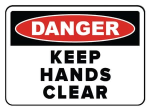 Accuform Signs 14 x 10 in. Adhesive Vinyl Sign - DANGER KEEP HANDS CLEAR AMEQM050VS