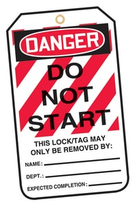 Safety Lockout TAG DNGR DONT START Pack AMLT403PTP