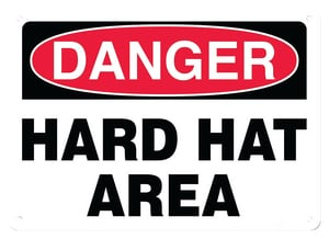 Accuform Signs 14 x 10 in. Plastic Sign - DANGER HARD HAT AREA AMPPA005VP at Pollardwater