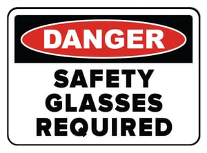 Accuform Signs 14 x 10 in. Aluminum Sign - DANGER SAFETY GLASSES REQUIRED IN THIS AREA AMPPA002VA