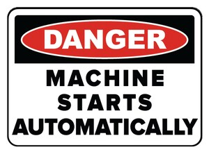 Accuform Signs 14 x 10 in. Aluminum Sign - DANGER THIS MACHINE STARTS AND STOPS AUTOMATICALLY AMEQM152VA at Pollardwater