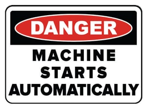 Accuform Signs 14 x 10 in. Adhesive Vinyl Sign - DANGER THIS MACHINE STARTS AND STOPS AUTOMATICALLY AMEQM152VS