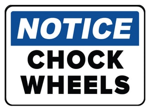 Accuform Signs 14 x 10 in. Aluminum Sign - NOTICE WHEEL MUST BE CHOCKED BEFORE LOADING OR UNLOADING AMVHR842VA at Pollardwater