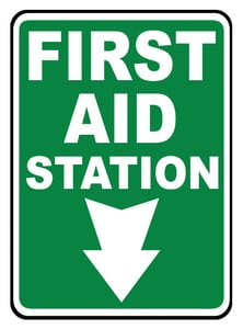Accuform Signs 14 x 10 in. Plastic Sign - FIRST AID STATION AMFSD960VP