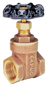 Matco-Norca 514T 1 in. Brass Full Port FNPT Gate Valve M514T05 at Pollardwater