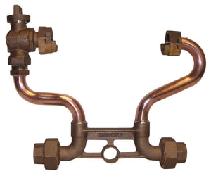 A.Y. McDonald 7 in. Copper 5/8 x 3/4 in. Meter Setter Horizontal 3/4 in. Mac-Pac Compression Inlet/Outlet Ball Valve x Meter Nut Lead Free M722207WX2233 at Pollardwater