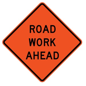 Traffix Devices 36 in. Non-Reflective Vinyl Roll-Up Sign - ROAD WORK AHEAD T26036EVHFRWA at Pollardwater