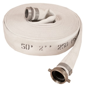 Abbott Rubber Co Inc 1-1/2 in. x 50 ft. MNST x FNST Polyester and Rubber Mill Discharge Hose in White A1132150050NST