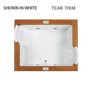 Jacuzzi Fuzion® 71-3/4 x 59-3/4 in. 23-Jet Acrylic Rectangle Drop-In or Undermount Whirlpool Bathtub with Center Drain and J5 LCD Control JFUZ7260WCD5IW