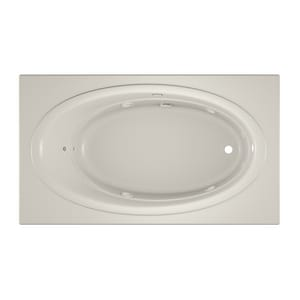 JACUZZI® Nova™ 72 x 42 in. Acrylic Rectangle Skirted Whirlpool Bathtub with Right Drain and J2 Basic Control in Oyster JNOV7242WRL2HXY