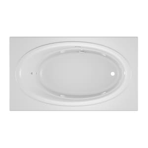 JACUZZI® Nova™ 72 x 42 in. Acrylic Rectangle Skirted Whirlpool Bathtub with Right Drain and J2 Basic Control in White JNOV7242WRL2CHW