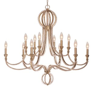 Crystorama Lighting Garland 60W 12-Light Candelabra E-12 Incandescent Chandelier in Distressed Twilight C6769DT