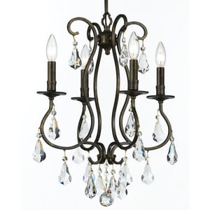 Crystorama Lighting Ashton 240W 4-Light Candelabra E-12 Base Chandelier in English Bronze C5014EBCLMWP