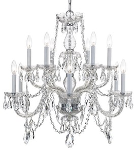 Crystorama Lighting Tradcry 60W 12-Light Candelabra E-12 Incandescent Chandelier in Polished Chrome C1135CHCLMWP