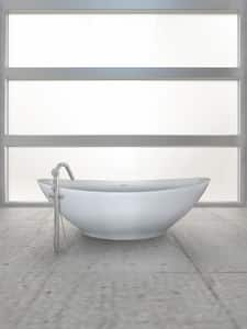 Hydro Systems Logan 72 x 38 in. Hydroluxe Solid Surface Oval Soaking Bathtub Only with Center Drain in White HLOG7238MTOWHI